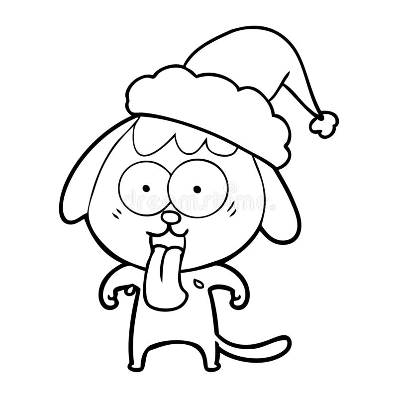 A creative cute line drawing of a dog wearing santa hat. An original creative cute line drawing of a dog wearing santa hat vector illustration