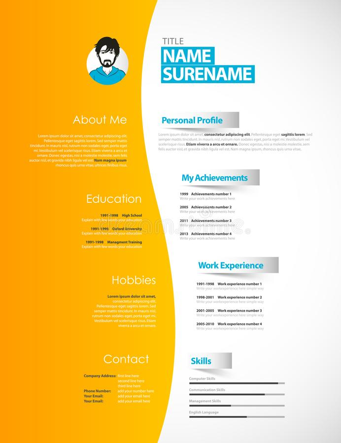 Creative Cv Template With Paper Stripes. Stock Vector - Illustration ...