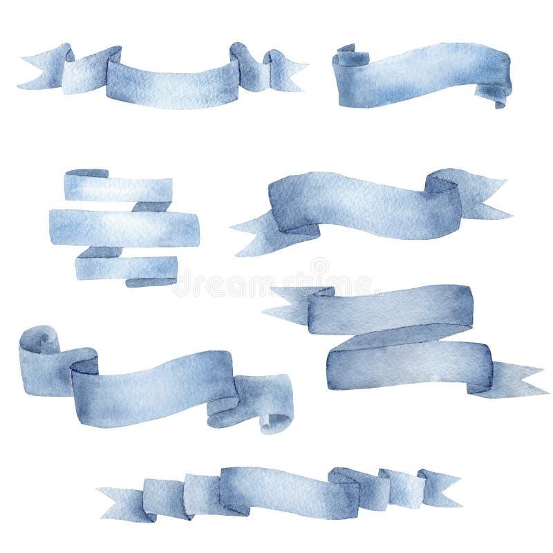 Creative cyan blue ribbon watercolor raster illustrations set royalty free illustration