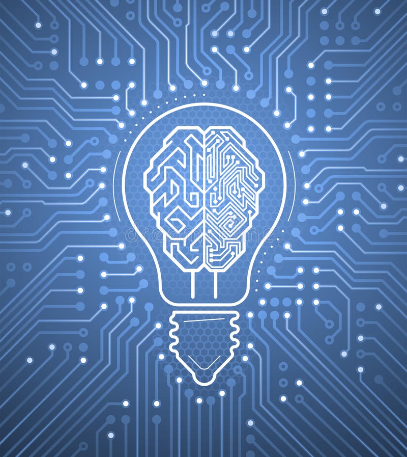 Creative Cybernetic Brain. Vector illustration on the subject of creating thinking Artificial Intelligence vector illustration