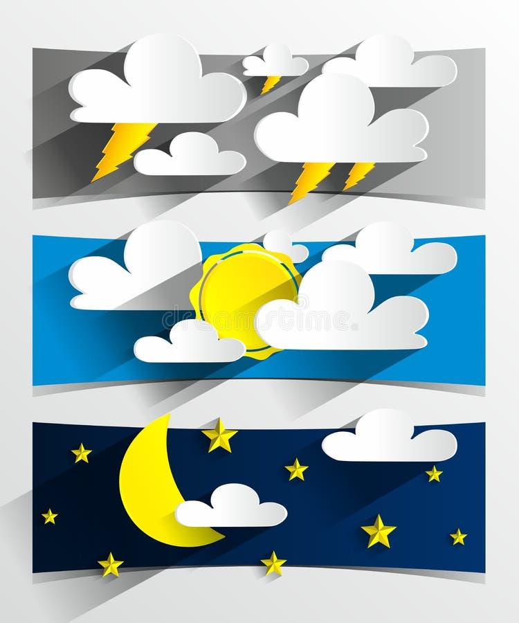 Creative 3D Cartoon Weather Banners stock illustration