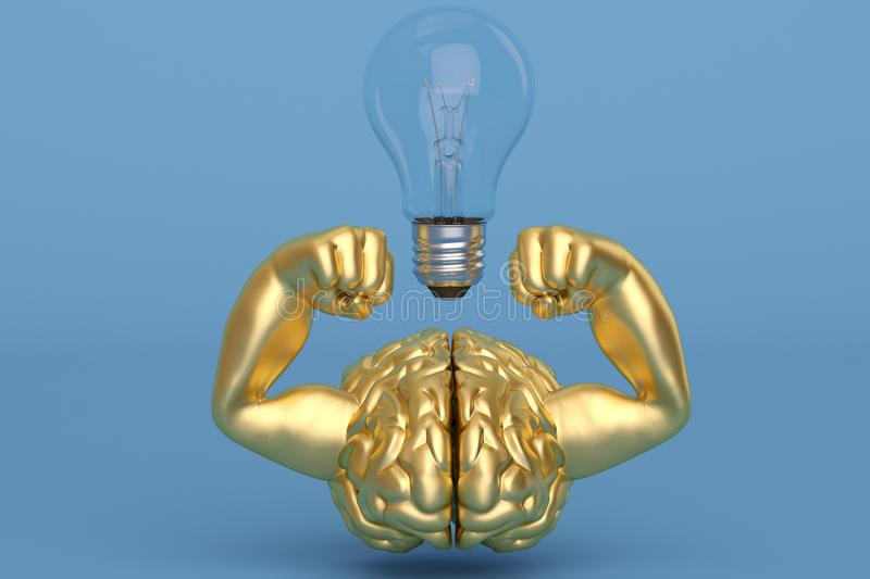 Creative 3D illustration strong gold muscle brain and light bulb royalty free illustration