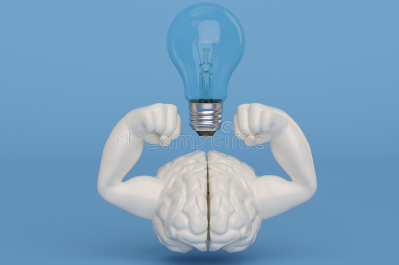 Creative 3D illustration strong muscle brain and light bulb stock illustration