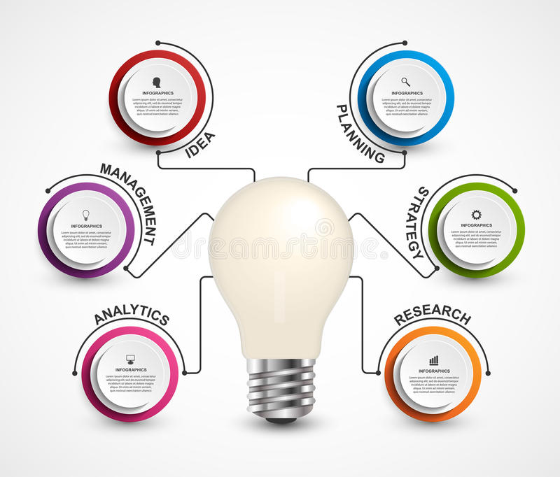 Creative 3D light bulb infographics template. Simple infographic design. royalty free illustration