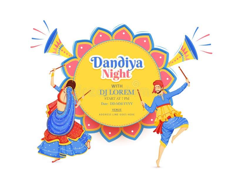 Creative Dandiya Night DJ party banner or poster design, illustration of couple dancing with dandiya stick. vector illustration