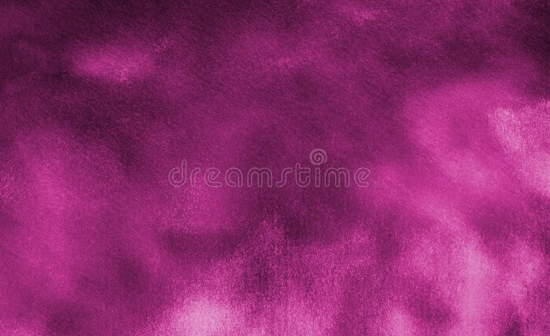 Creative dark pink paper texture water color painted illustration. Magenta watercolor on black background. Colorful smeared fuchsia neon paper textured royalty free stock photography