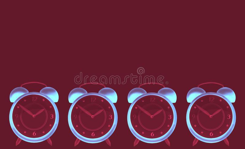 Creative dark red abstract background with multiple bright watches stock illustration