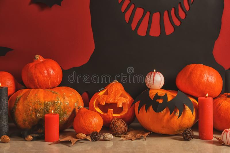 Creative decorations for Halloween party on floor stock photo
