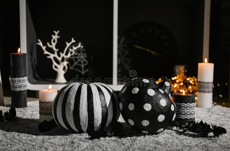 Creative decorations for Halloween party on floor royalty free stock images