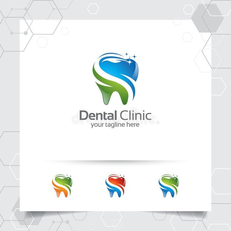 Creative dental clinic logo vector. Abstract dental symbol icon with modern design style vector illustration