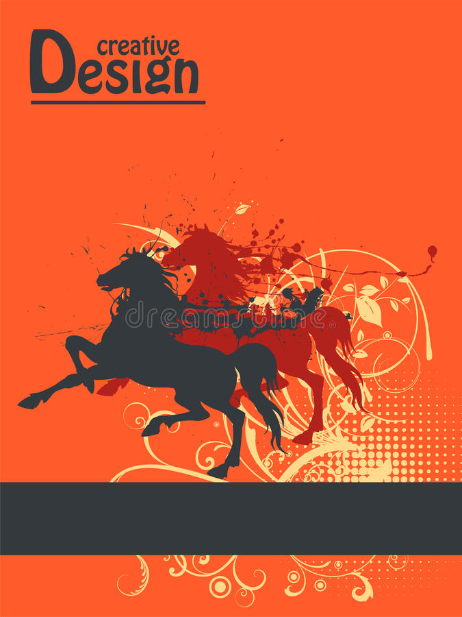 Creative design. Abstract creative design illustration with ink splat horses and floral ornaments stock illustration