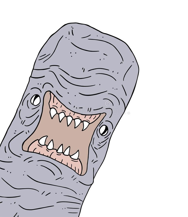 Angry mutant worm. Creative design of angry mutant worm stock illustration