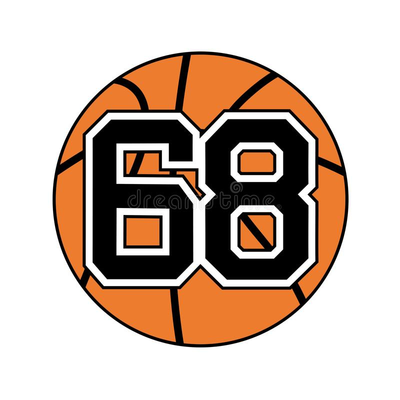 Ball Of Basketball Symbol With Number 68 Stock Vector Illustration