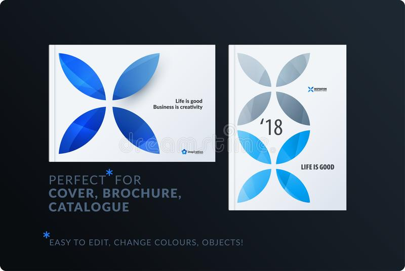 Creative design of brochure set, abstract annual report, horizontal cover, flyer in A4. With blue colourful circle segments, flower shape for ecology, branding royalty free illustration