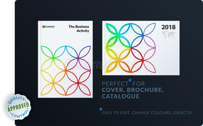 Creative design of brochure set, abstract annual report, horizontal cover, flyer in A4. With colourful circle segments, flower shape for ecology, branding royalty free illustration
