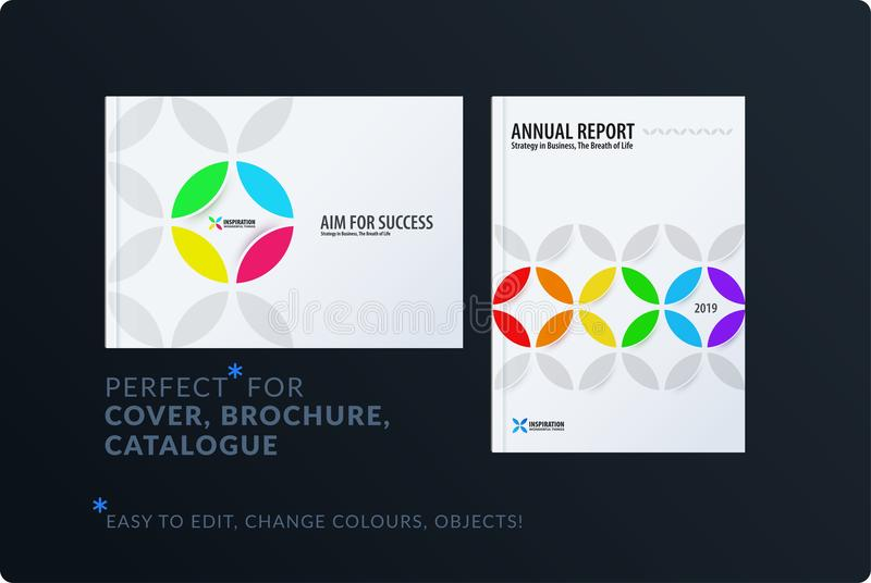 Creative design of brochure set, abstract annual report, horizontal cover, flyer in A4. With colourful circle segments, flower shape for ecology, branding stock illustration