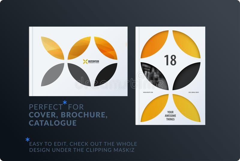 Creative design of brochure set, abstract annual report, horizontal cover, flyer in A4. With yellow colourful circle segments, flower shape for ecology vector illustration