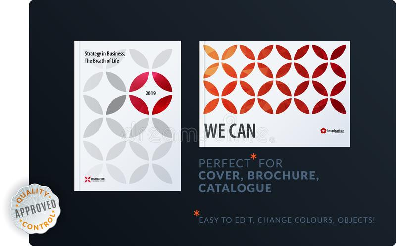 Creative design of brochure set, abstract annual report, horizontal cover, flyer in A4. With red colourful circle segments, flower shape for ecology, branding royalty free illustration