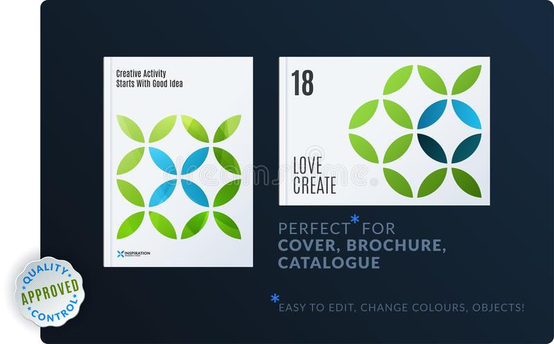 Creative design of brochure set, abstract annual report, horizontal cover, flyer in A4. With turquoise colourful circle segments, flower shape for ecology vector illustration