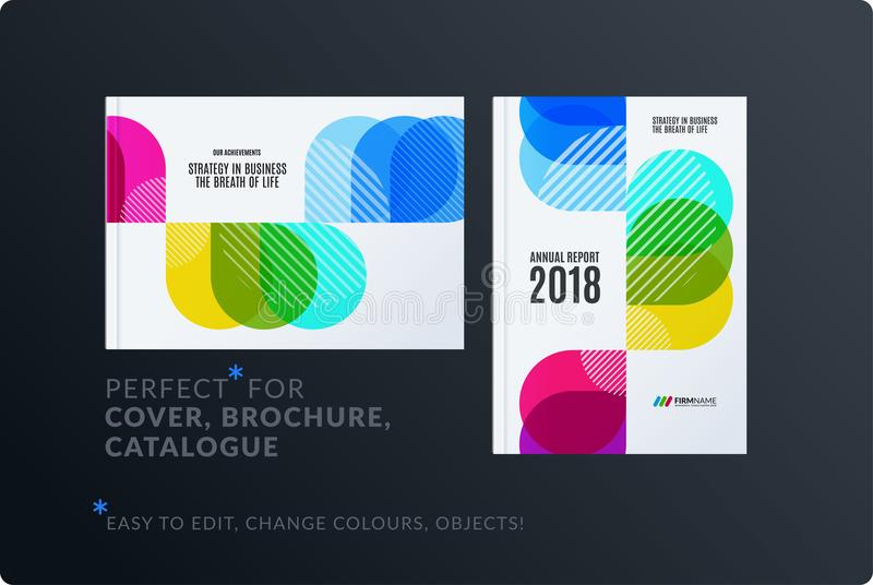 Creative design of brochure set, abstract annual report, horizontal cover layout, flyer in A4 with vector colourful. Rounded shape for ecology, branding vector illustration