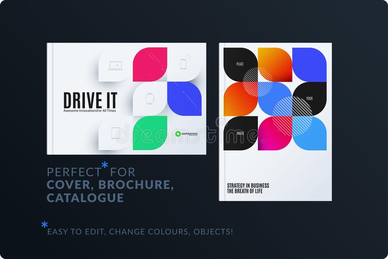 Creative design of brochure set, abstract annual report, horizontal cover layout, flyer in A4 with vector colourful. Rounded shape for ecology, branding royalty free illustration