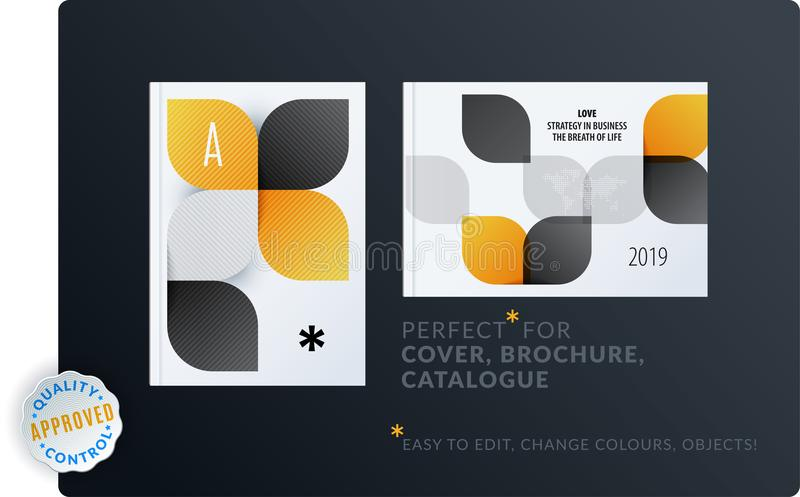 Creative design of brochure set, abstract annual report, horizontal cover layout, flyer in A4 with vector colourful. Creative design of brochure set, abstract vector illustration