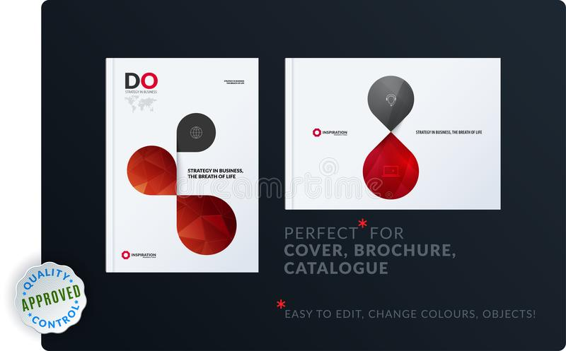 Creative design of brochure set, abstract annual report, horizontal cover layout, flyer in A4 with vector colourful. Creative design of brochure set, abstract stock illustration