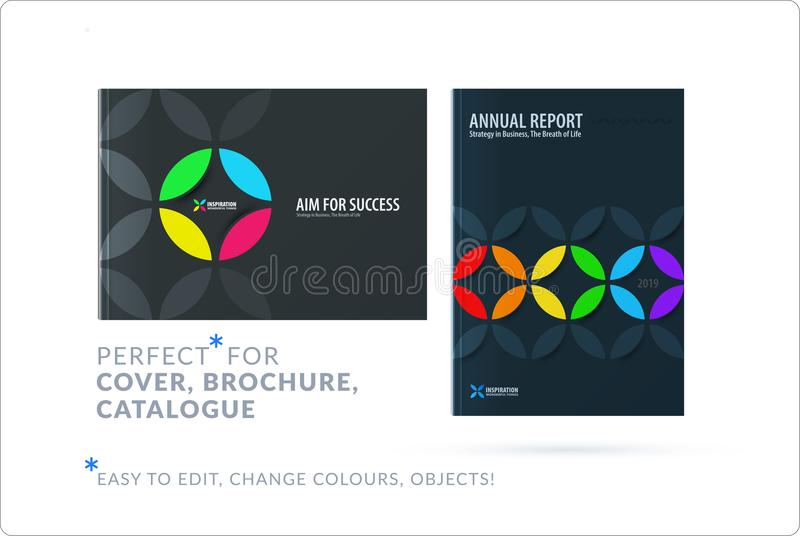 Creative design of business brochure set, abstract horizontal cover layout, flyer in A4. With colourful circle segments, flower shape for eco, motion design vector illustration