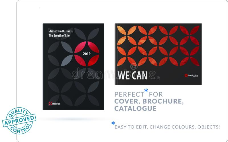 Creative design of business brochure set, abstract horizontal cover layout, flyer in A4. With colourful red circle segments, flower shape for eco, motion design stock illustration