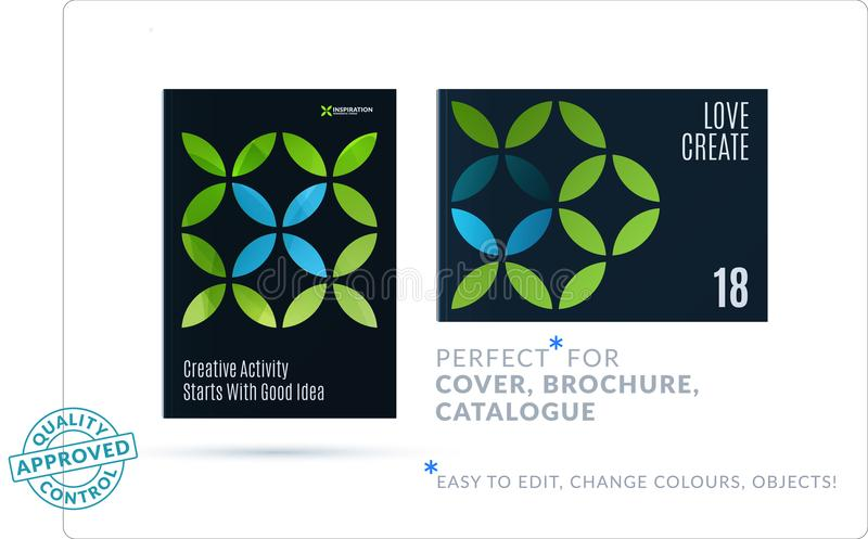 Creative design of business brochure set, abstract horizontal cover layout, flyer in A4 vector illustration