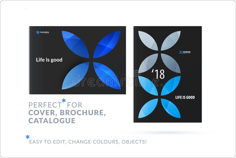 Creative design of business brochure set, abstract horizontal cover layout, flyer in A4. With blue colourful circle segments, flower shape for eco, motion vector illustration
