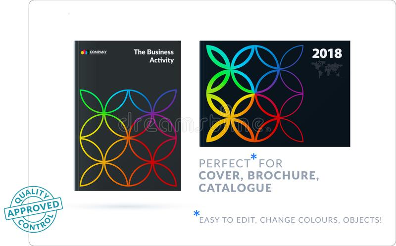 Creative design of business brochure set, abstract horizontal cover layout, flyer in A4. With colourful circle segments, flower shape for eco, motion design royalty free illustration
