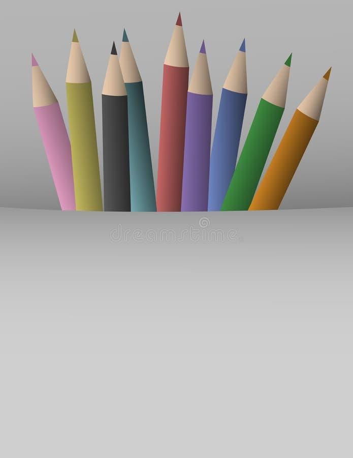 Colorful pencil cover. Creative design of colorful pencil cover stock illustration