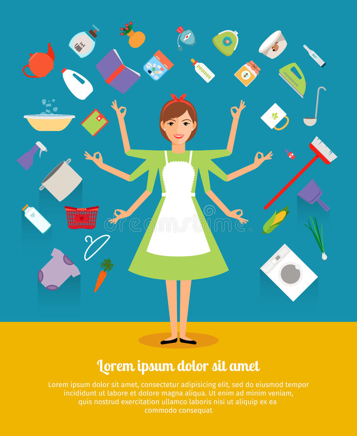 Creative design concepts of housewife activity. Mother and girl, apron and cooking, female and wife, food, domestic housework. Vector illustration vector illustration