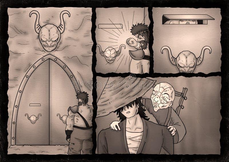 Fantasy comic cavern scene. Creative design of fantasy comic cavern scene stock illustration