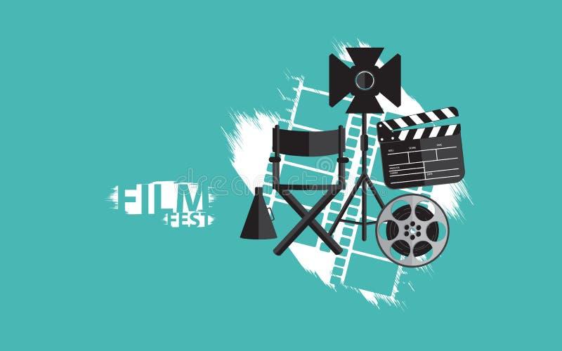 Film fest background with film set. Creative design for film fest, movie. with film set. roll, scene, chair, light. for print, banner cards etc vector illustration