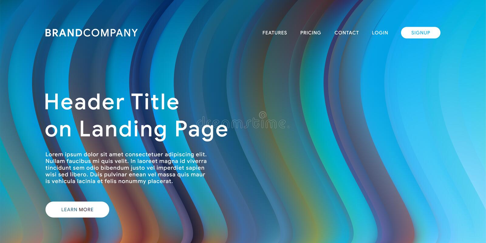Creative design with fluid colorful shapes. Trendy color gradients. Strip design. Fluid shapes composition. Futuristic design. Landing page template royalty free illustration