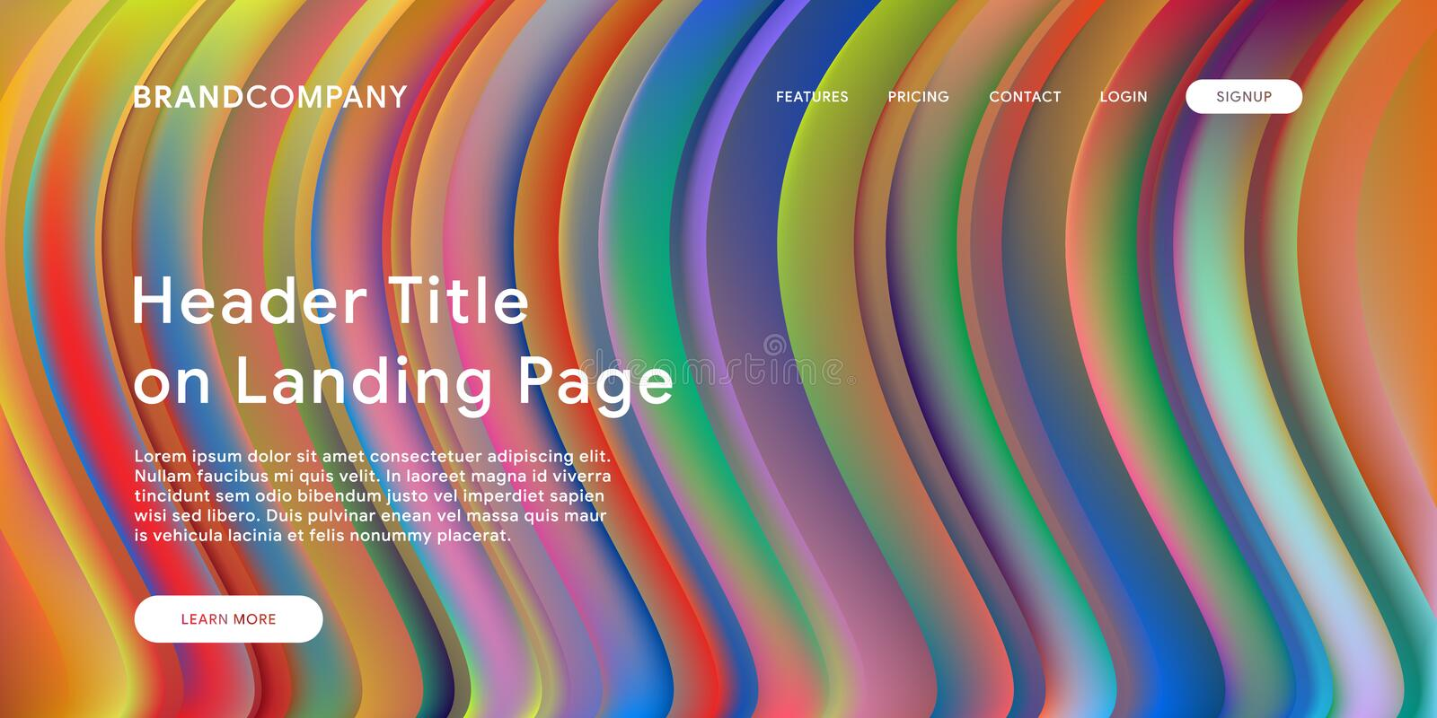 Creative design with fluid colorful shapes. Trendy color gradients. Strip design. Fluid shapes composition. Futuristic design. Landing page template royalty free stock image