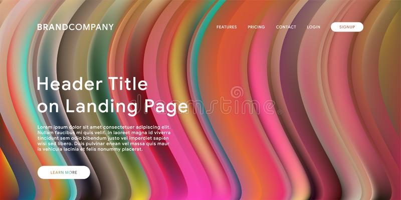 Creative design with fluid colorful shapes. Trendy color gradients. Strip design. Fluid shapes composition. Futuristic design. Landing page template royalty free stock photography
