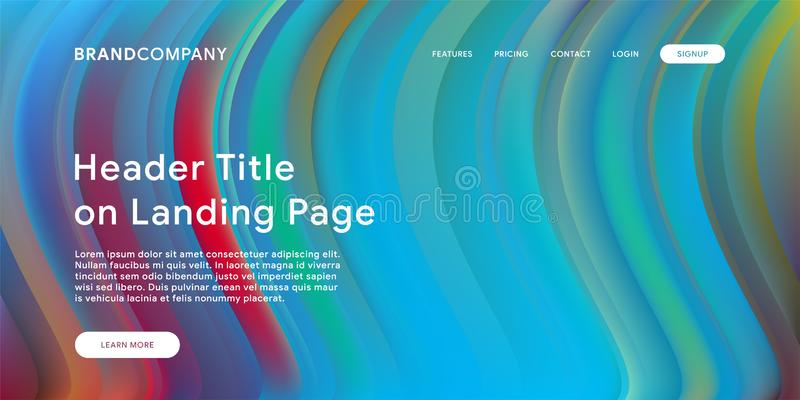 Creative design with fluid colorful shapes. Trendy color gradients. Strip design. Fluid shapes composition. Futuristic design. Landing page template stock illustration