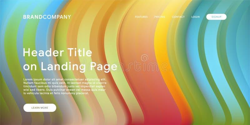 Creative design with fluid colorful shapes. Trendy color gradients. Strip design. Fluid shapes composition. Futuristic design. Landing page template stock illustration