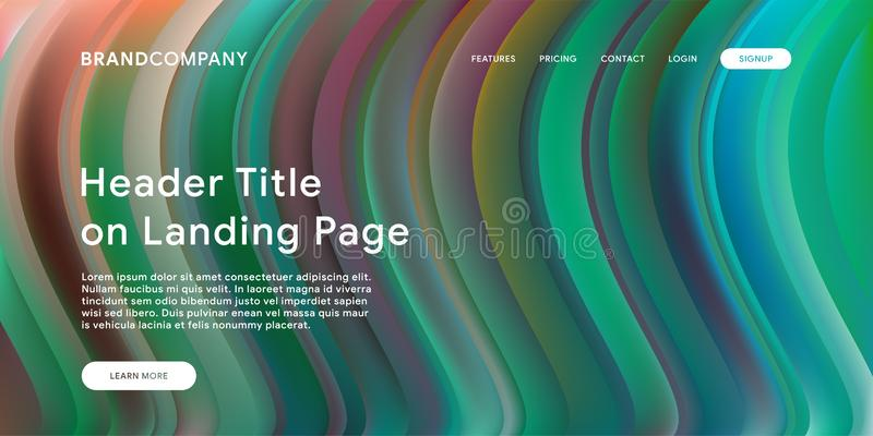 Creative design with fluid colorful shapes. Trendy color gradients. Strip design. Fluid shapes composition. Futuristic design. Landing page template vector illustration