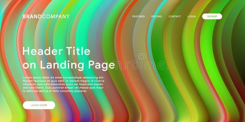 Creative design with fluid colorful shapes. Trendy color gradients. Strip design. Fluid shapes composition. Futuristic design. Landing page template vector illustration