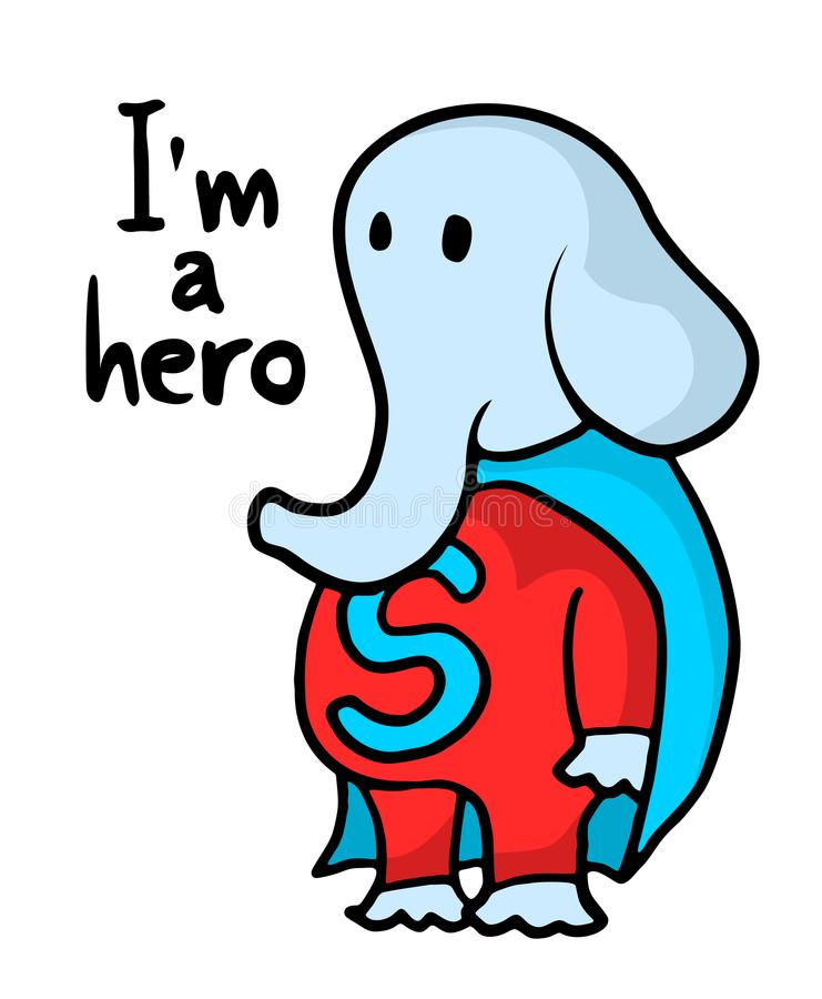 Funny elephant hero draw. Creative design of funny elephant hero draw vector illustration