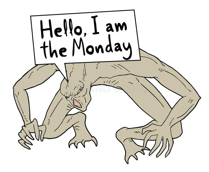 Funny monday message royalty free illustration