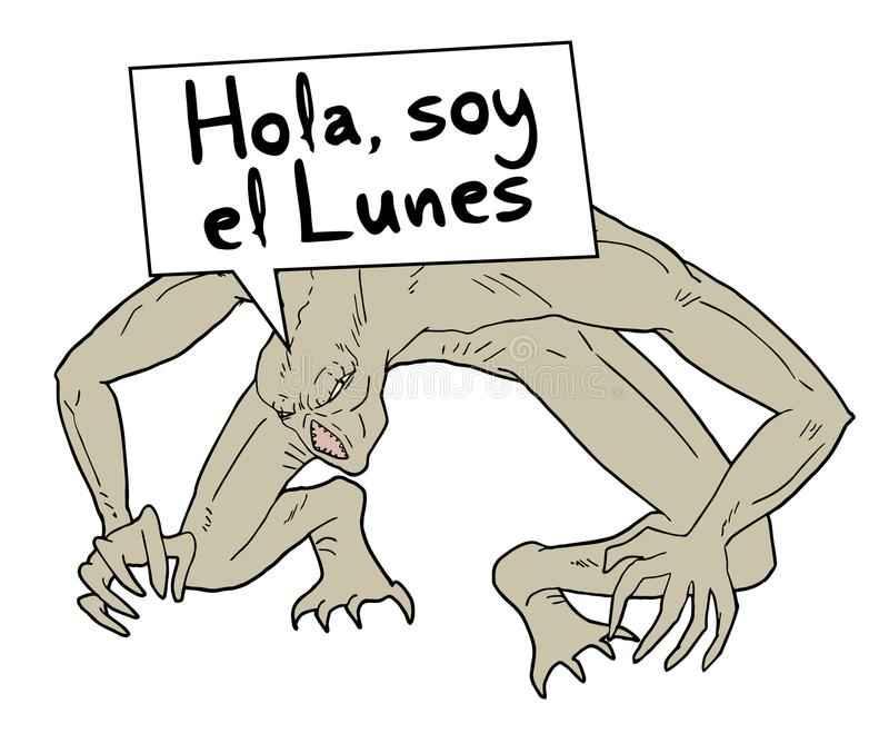 Funny monday message in spanish stock illustration