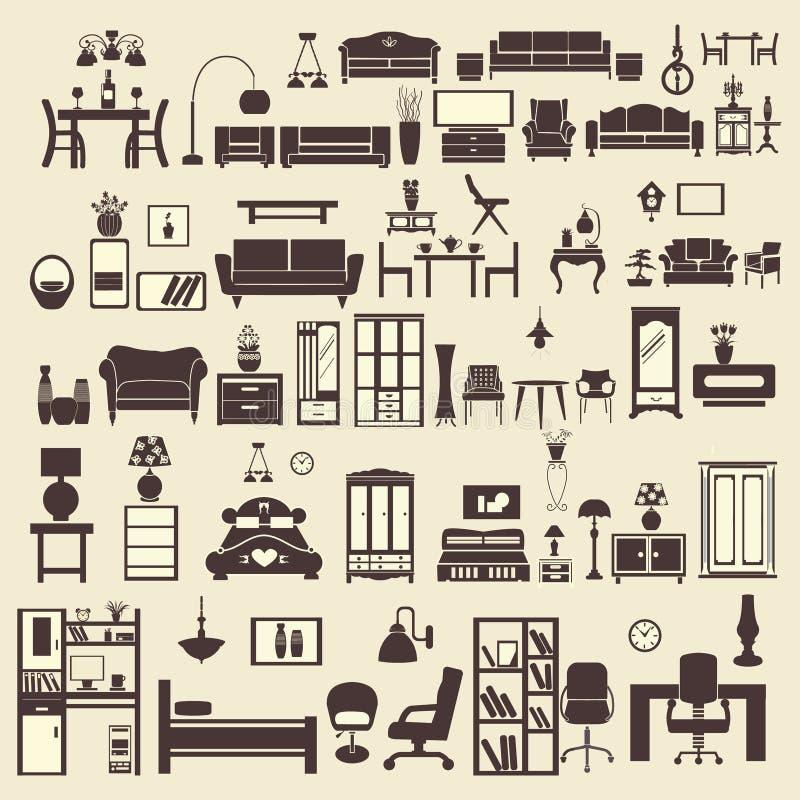 creative furniture icons set flat design. creative design furniture icons set interior illustration flat e