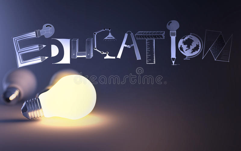 Creative design hand drawn EDUCATION word stock illustration