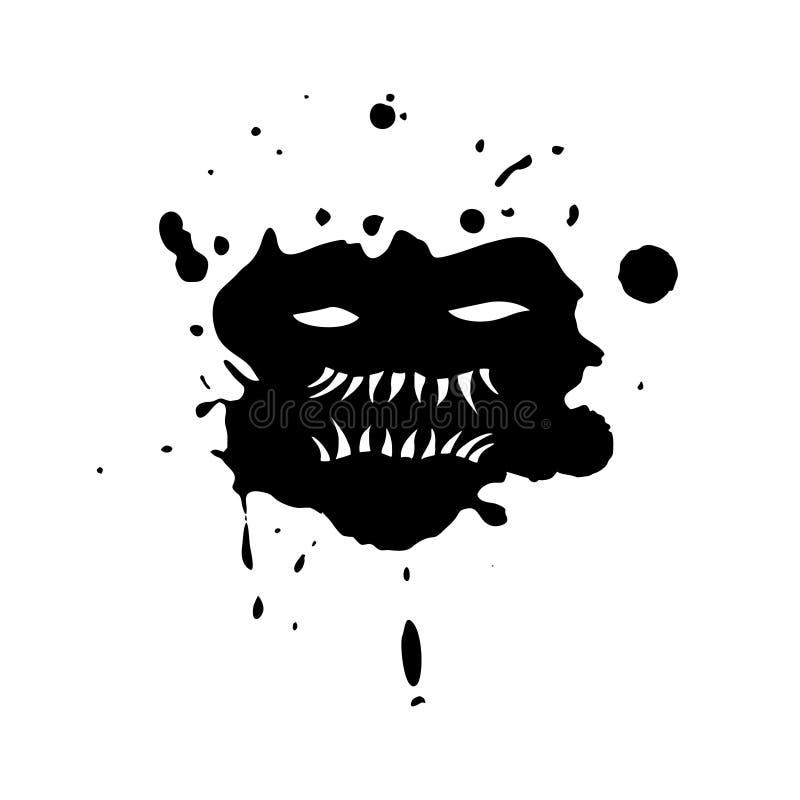 Imaginative monster face on ink stain stock illustration