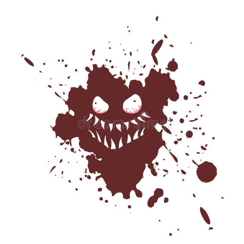 Imaginative monster face on ink stain royalty free illustration